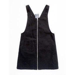 NEW Black Zip Front Denim Overall Dress + Pockets